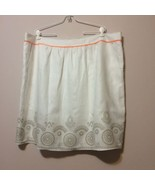 Tahari Woman Linen Skirt Size 20 White Embroidered Tan Circles Orange Tr... - $18.95