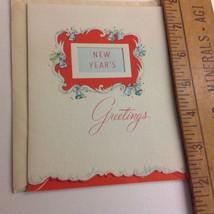VINTAGE 1940s 50s american Greeting Card UNUSED die cut NEW YEARS EVE cl... - $4.46