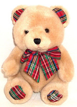 First Impressions Baby's Christmas Plush Bear RATTLE w/ Plaid Ears Feet Bow - $9.89