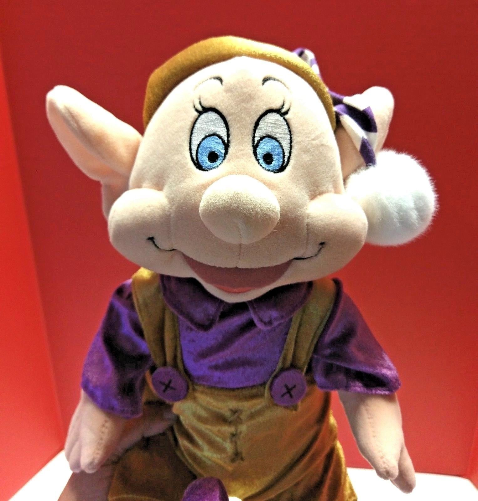 "Disney Store Exclusive Small Dopey Elf Snow White Plush Stuffed Toy Purple 16"""