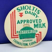 Dairy milk bottle cap vintage farm advertising Sholtis Thomaston Connect... - $7.87