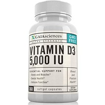 Gaia Sciences Vitamin D3 5,000 IU in Cold-Pressed Organic Olive Oil, GMO-Free, H - $27.22