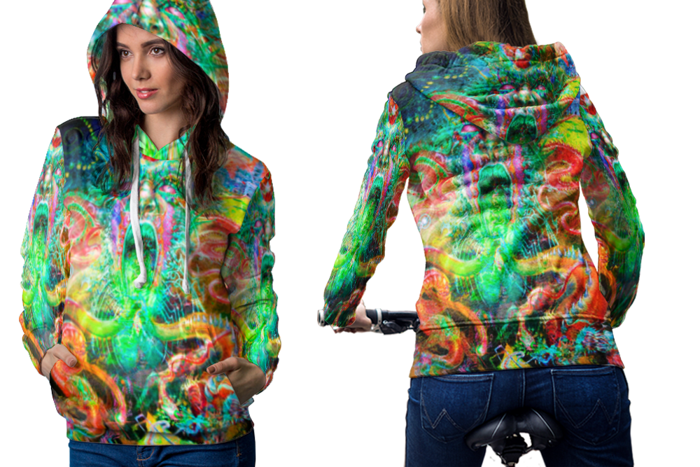 Psychedelic magic face trippy tongue drug dmt hoodie women