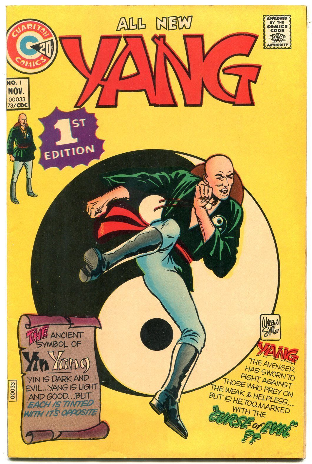 Primary image for Yang #1 1973- Charlton Comics- Martial Arts superhero VF
