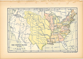 "Original 1903 Print Antique Map 1816 United States Dodd Mead &Co.10""X6"" ... - $40.34"