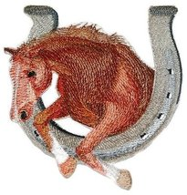 [Custom] Lucky Charm Horse with Horse Shoe [Brown Stallion] Embroidery I... - $14.84