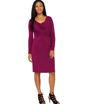 H by Halston Solid Cowl Neck Long Sleeve Dress, Orchid, Reg 14 - $32.66