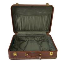 """Vintage Hardside Suitcase 1950s Luggage Burlesque Case Valise 21"""" Wedding - $123.75"""