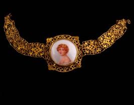 Antique PORTRAIT bracelet - Victorian French beauty - Cameo jewelry - Czech - $295.00