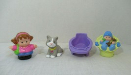 Fisher Price Little People figures lot Mom purple baby chair seat gray cat  - $9.89