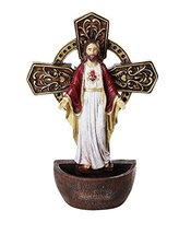 The Sacred Heart of Jesus Holy Water Font Religious Sacrament Wall Decor 6.75 in - $12.99