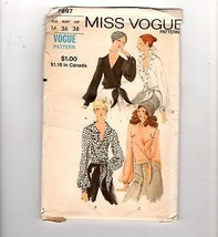 Vtg 70s Vogue Sewing Pattern #7897 Side Wrap V-Neck Blouse Four Styles S... - $12.38