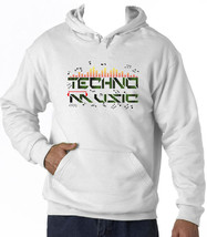 TECHNO MUSIC  - NEW COTTON WHITE HOODIE - $39.07