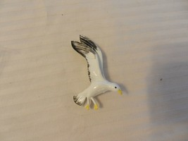 Vintage White Metal Flying Seagull Pin with Black and Yellow - $29.69