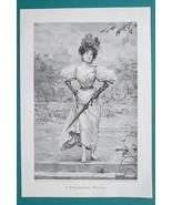 YOUNG MAIDEN Summer Stroll Fine Dress Parasol - VICTORIAN Era Print - $16.20
