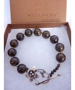 Silpada Brown Bronzite Ball Bead Sterling Silver Flower Toggle Bracelet ... - $44.10