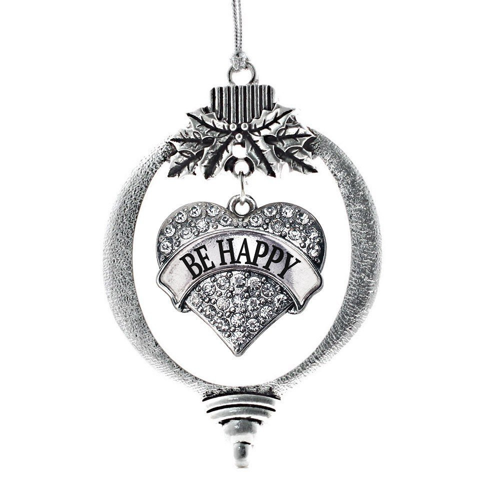 Primary image for Inspired Silver Be Happy Pave Heart Holiday Ornament