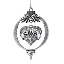 Inspired Silver Be Happy Pave Heart Holiday Ornament - $14.69