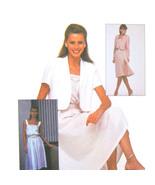Vtg 80s McCalls 7989 Misses Flared Sundress Short Long Sleeve Jacket 14/... - $6.95