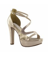 Breeze by Touch Ups Champagne Gold Platform Heel Bridal Bridesmaid Prom ... - $84.16 CAD