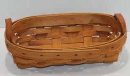Longaberger 1995 Cracker Small Oval Basket Leather Handle - $17.34