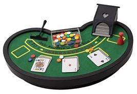 Desktop Miniature Blackjack Table Set with Mini Card Deck Poker Chips Ta... - $18.79