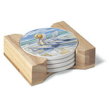 CounterArt Time for Two Design Absorbent Coasters in Wooden Holder, Set ... - $16.99