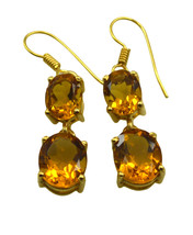 Yellow Gold Plated Glass inviting Citrine CZ supply Earring AU gift - $8.33