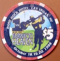 $5 Casino Chip. Hard Rock, Las Vegas, NV. Fairway to Heaven 1998, LTD 5000. T28. - $9.50
