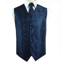 Navy XS to 6XL Paisley Tuxedo Suit Dress Vest Waistcoat & Neck tie Weddi... - $21.76+
