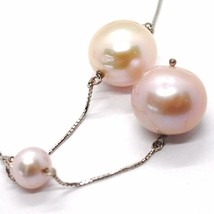 Necklace Lariat White Gold 18K with Pendant, Pearls Large, and Purple, 16 MM image 2