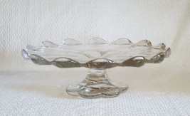 Vintage Paneled Design Pressed Glass Cake Stand... - $83.15