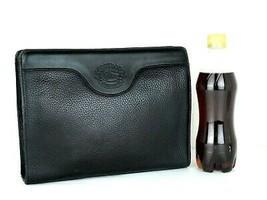 Authentic Burberrys Vintage Black Leather Clutch Secondary Small Handbag... - $137.61