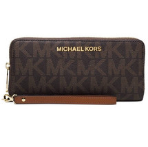 Michael Kors Jet Set Travel Continental Wallet Wristlet Signature Logo Brown NWT - $84.15