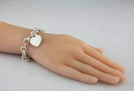 "Tiffany & Co. Sterling Silver Blank Heart Tag Charm Bracelet 7.5"" - $198.00"