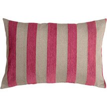 Pillow Decor - Brackendale Stripes Pink Rectangular Throw Pillow 16x24 - £38.26 GBP