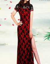 Women Sexy Cheongsam High Split Sexy Lace Long Slim Dance Dress Party Ev... - $15.16