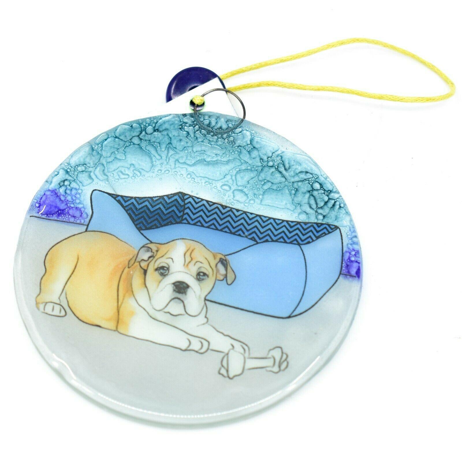 Handmade Fused Art Glass  Bulldog Puppy Dog w Bone Ornament Sun Catcher Ecuador