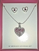 Silvertone Heart Pendant Necklace w/Embedded Faux Gems and Matching Earr... - $14.76