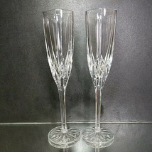 2 (Two) MIKASA APOLLO Lead Crystal Champagne Flutes Height: 9 3/8 in - $42.74