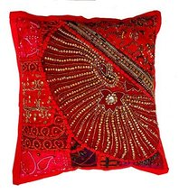 Rastogi Handicrafts Decorative Throw Pillow Cases, Embroidered Cotton Cushion Co - $14.84