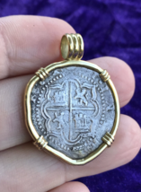 BOLIVIA 2 REALES PHILIP III 14KT PENDANT PIRATE GOLD COINS JEWELRY NECKLACE - $1,950.00