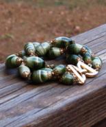 Stylish Vintage Crown Trifari Green Swirl Triple Strand Bracelet, Faux A... - $48.00