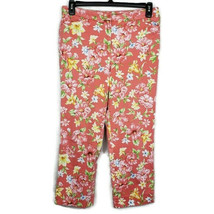 Jones NY Country Coral MultiColor Floral Capri Pants Womens Size 8 - $13.84