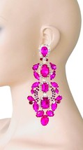 """5.25"""" L Oversized AB & Fuchsia Hot Pink Crystals Clip On Earrings Drag Q... - $29.67"""