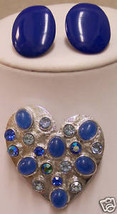 VINTAGE BLUE EARRINGS & BLUE RHINESTONE BROOCH JL 207 - €9,96 EUR