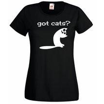 Womens T-Shirt Cute Cat Quote Got Cats?, Funny Kitty TShirt, Smiling Cat Shirt - $24.74