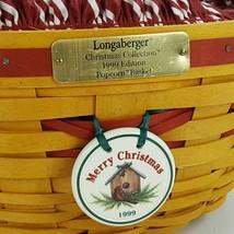 Longaberger 1999 Christmas Popcorn Basket w Protector & Red White Liner 15156 image 2