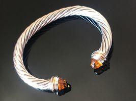 David Yurman Sterling Silver & 18k Gold CITRINE 7mm Cable Classic Bracelet - $449.99