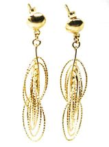 18K YELLOW GOLD PENDANT EARRINGS, MULTIPLE WORKED OVALS, SPIRAL 4cm, 1,6 INCHES  image 6